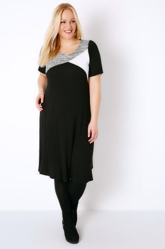 Black, White & Grey Colour Block Tunic Dress