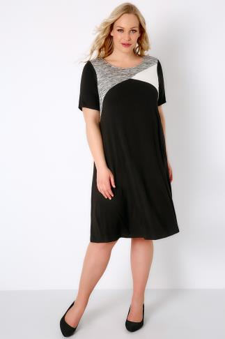 Sleeved Dresses Black, White & Grey Colour Block Tunic Dress 136029
