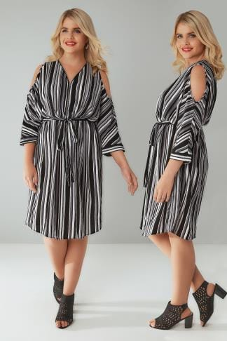 Shirt Dresses Black, White & Grey Stripe Cold Shoulder Shirt Dress With Zip Front Detail 130016