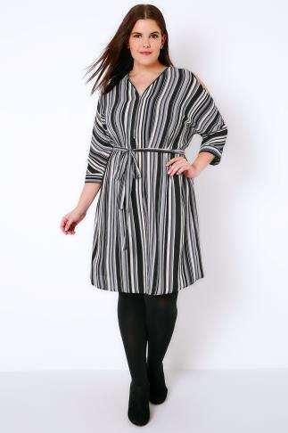 Black, White & Grey Stripe Cold Shoulder Shirt Dress With Zip Front Detail