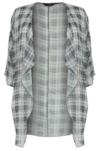 Black & White Grid Line Print Chiffon Kimono With Waterfall Front