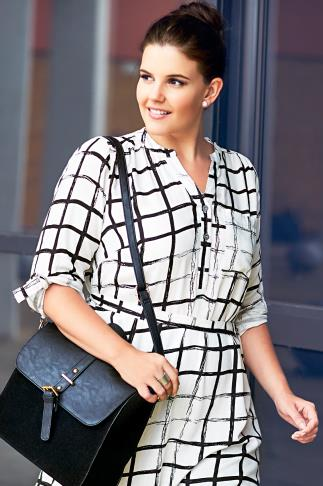 Black & White Grid Print Long Sleeve Tie Waist Dress