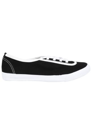 Wide Fit Trainers Black & White Lace Up Canvas Plimsoll Trainers In EEE Fit 056318