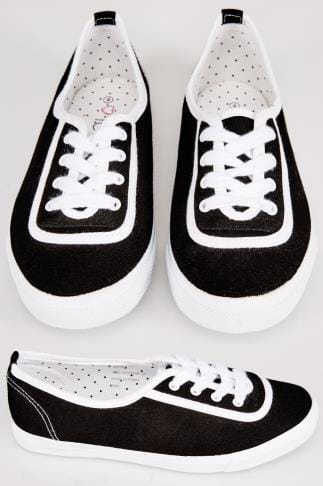 Black & White Lace Up Canvas Plimsoll Trainers In EEE Fit