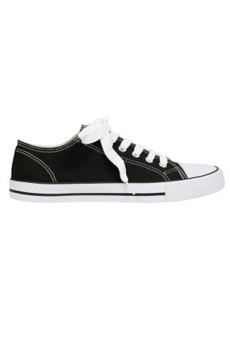 Black & White Lace Up Rubber Sole Canvas Trainers In EEE Fit