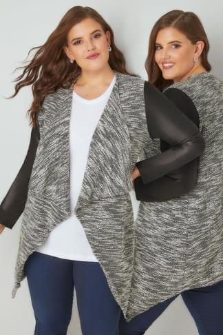 Leather Look Jackets Black & White Lightweight Textured Jacket With PU Sleeves 134031