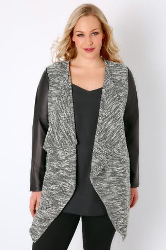 Leather Look Black & White Lightweight Textured Jacket With PU Sleeves 134031
