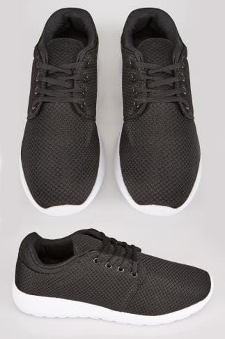 Black & White Lightweight Woven Trainer