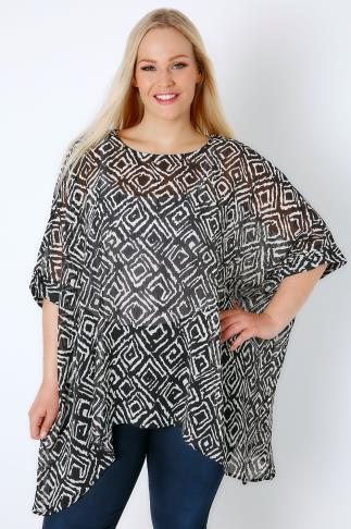 Black & White Mono Diamond Print Batwing Sleeve Chiffon Sheer Top 170100