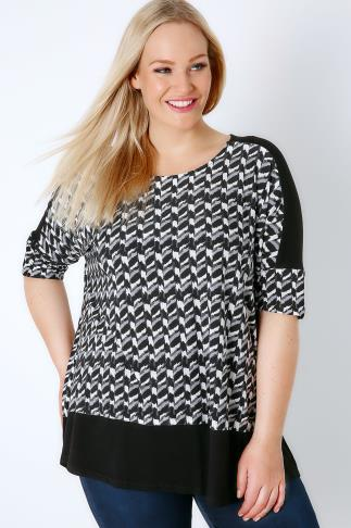 Jersey Tops Black & White Mono Print Colour Block Top 170084