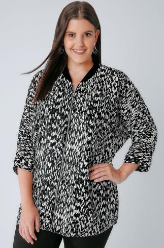 Shirts Black & White Mono Print Zip Through Shacket 130072