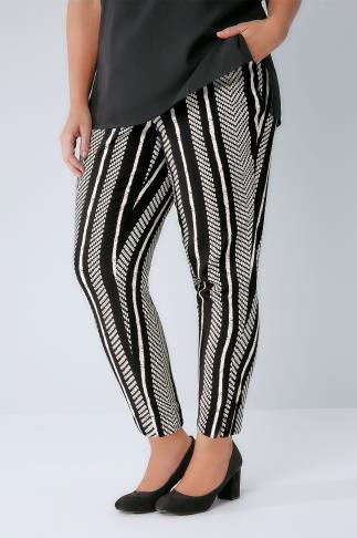 Black & White Mono Stripe Print Tapered Trousers With Waist Tie 144009