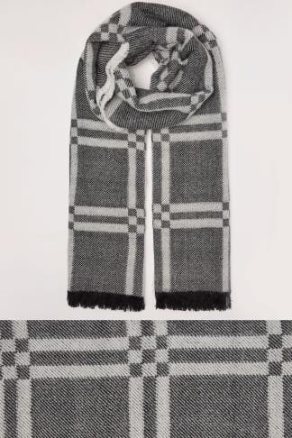 Scarves Black & White Monochrome Check Blanket Scarf 152465