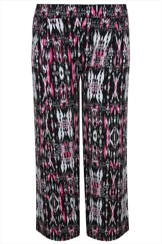 Black, White & Neon Pink Aztec Print Wide Leg Trousers