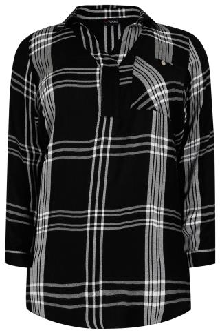 Black & White Oversized Checked Shirt With V-Neck