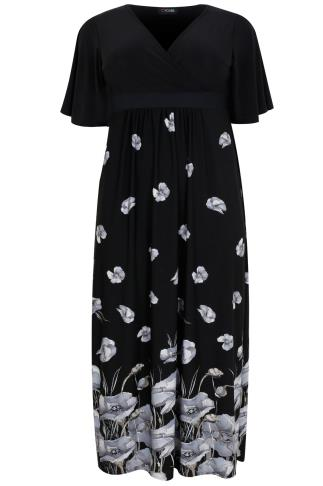 Black, White & Pale Blue Poppy Print Wrap Front Maxi Dress