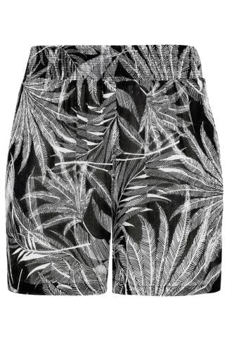 Black & White Palm Print Shorts With Ruched Waist