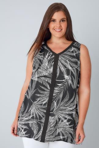 Day Black & White Palm Print Sleeveless Top With Contrast Trim 130105