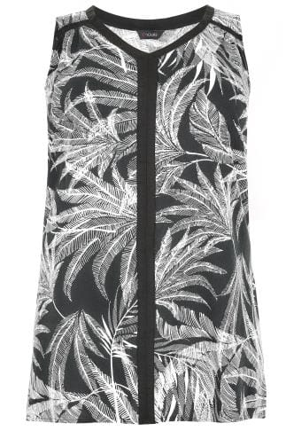 Black & White Palm Print Sleeveless Top With Contrast Trim
