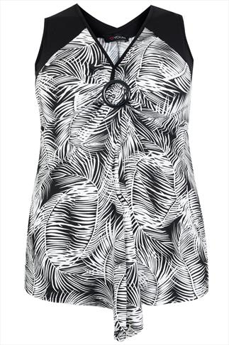 Black & White Palm Print Sleeveless Top With Ring Detail