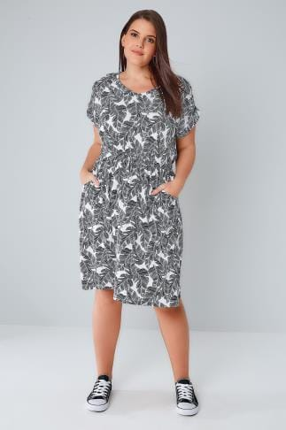 Midi Dresses Black & White Palm Print T-Shirt Dress With Pockets & Elasticated Waistband 136072