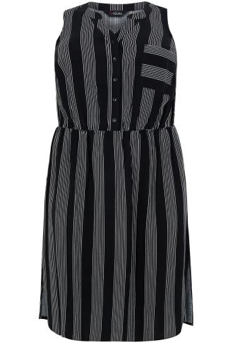 Black & White Pin Stripe Sleeveless Shirt Dress