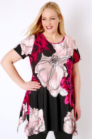 Black, White & Pink Floral Slinky Stretch Top With Hanky Hem