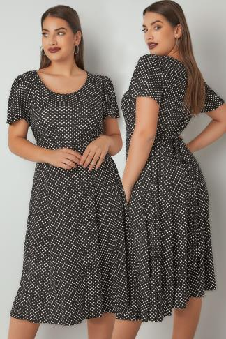 Skater Dresses Black & White Polka Dot Dress With Self-Tie Waist & Angel Sleeves 136183