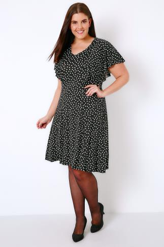 Black & White Polka Dot Frill Dress 156090