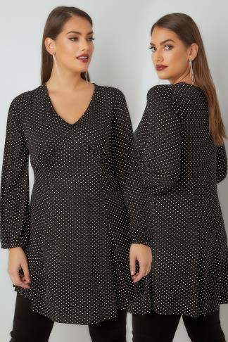 Tunic Dresses Black & White Polka Dot Print Tunic Dress With Elasticated Cuffs 134262