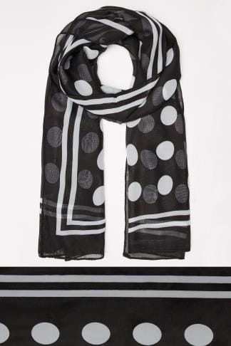 Scarves Black & White Polka Dot Scarf With Stripe Border 045480