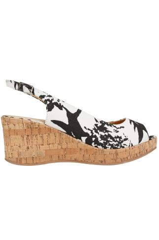 Black & White Printed Canvas Peep Toe Cork Wedge Sandal In EEE Fit 056420