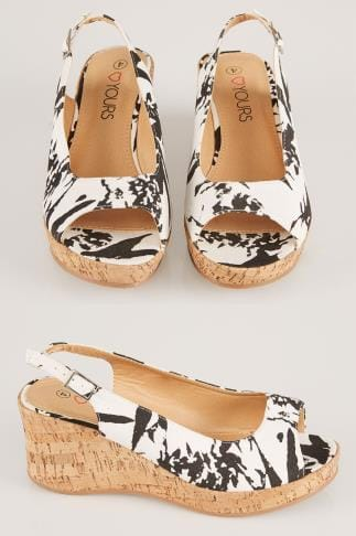 Wide Fit Heels Black & White Printed Canvas Peep Toe Cork Wedge Sandal In EEE Fit 056420