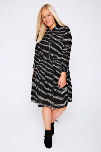 Black & White Printed Dress With Ruched Waist & Zip Front