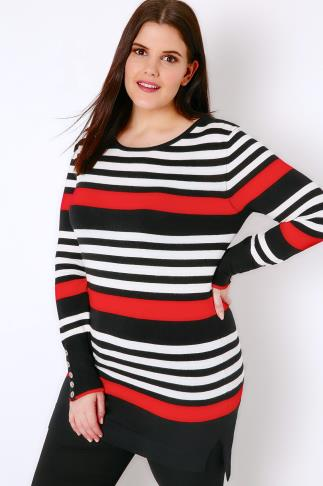 Jumpers Black, White & Red Stripe Jumper With Button Cuffs 102711