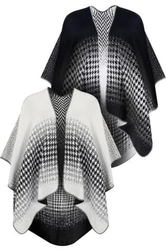 Black & White Reversible Herringbone Knit Wrap