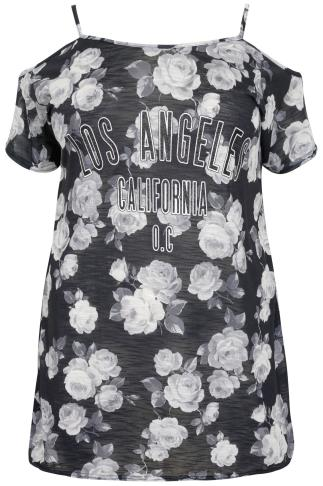 "Black & White Rose Print Cold Shoulder Top With ""Los Angeles"" Print"