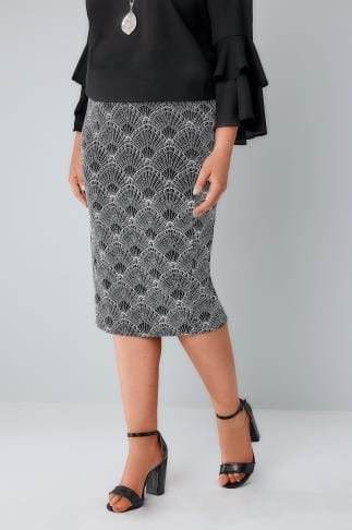 Pencil Skirts Black, White & Silver Art Deco Print Glitter Pencil Skirt 156076