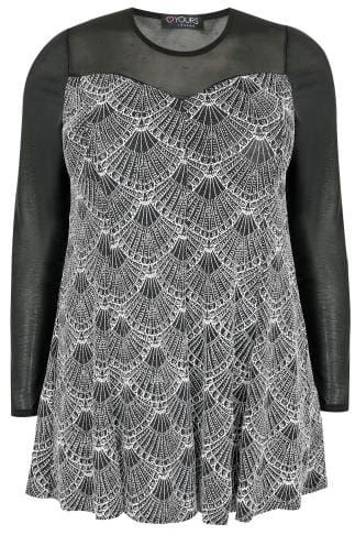 Black, White & Silver Art Deco Print Glitter Swing Top