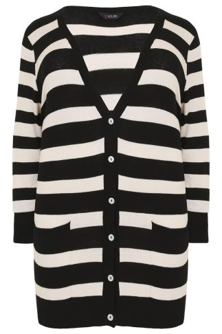 Black & White Stripe Belted Boyfriend Cardigan