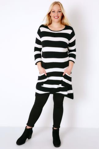 Tunic Dresses Black & White Stripe Knitted Tunic With Pockets 102712