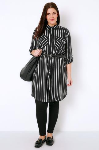 Black & White Stripe Longline Button-Up Shirt With Pockets 130045