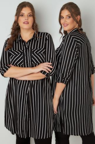 Blouses & Shirts Black & White Stripe Longline Button-Up Shirt With Pockets 130045