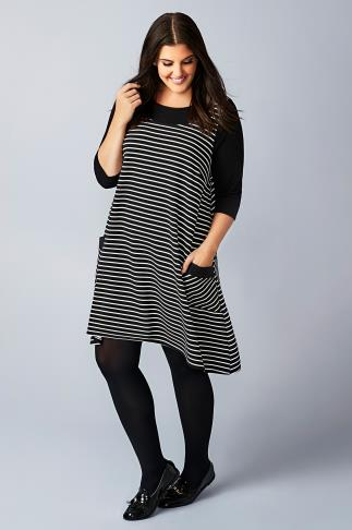 Black & White Stripe Pinafore Style Swing Dress