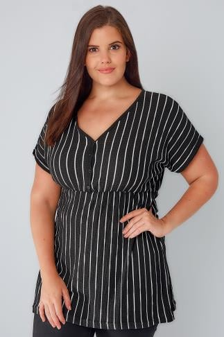 Black & White Stripe Textured Longline Top With Button Detail 170180