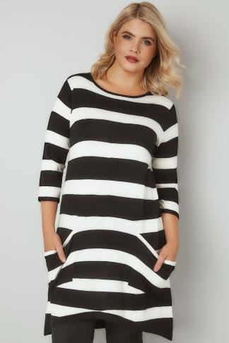 Tunic Dresses Black & White Stripe Tunic Dress With Pockets 124182