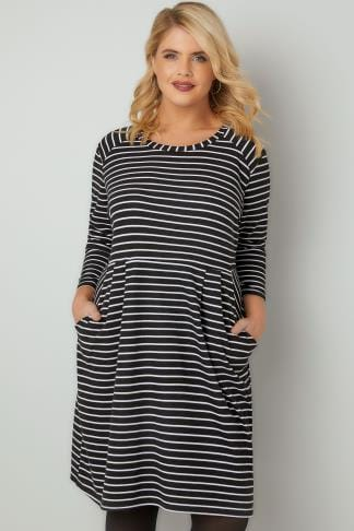 Black & White Striped Dress With Pockets