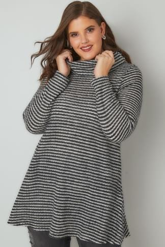 Jumpers Black & White Striped Longline Roll Neck Jumper 170346