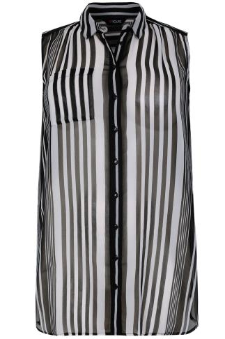 Black & White Striped Sleeveless Sheer Shirt With Side Slits