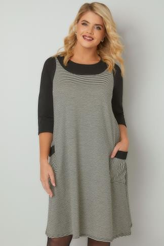 Swing & Shift Dresses Black & White Striped Textured Mock Pinafore Dress With Two Pockets 170348